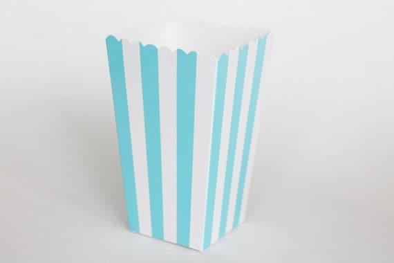 Blue Popcorn Favor Boxes : Blue striped popcorn box pop corn scoop favor