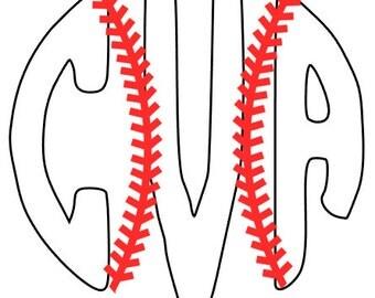 Baseball or Softball Monogram Decal