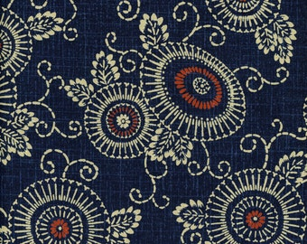 Indigo Fabric Floral Parasol 100% Cotton, Japanese Quilting Fabric by the half yard KW-3515-1A