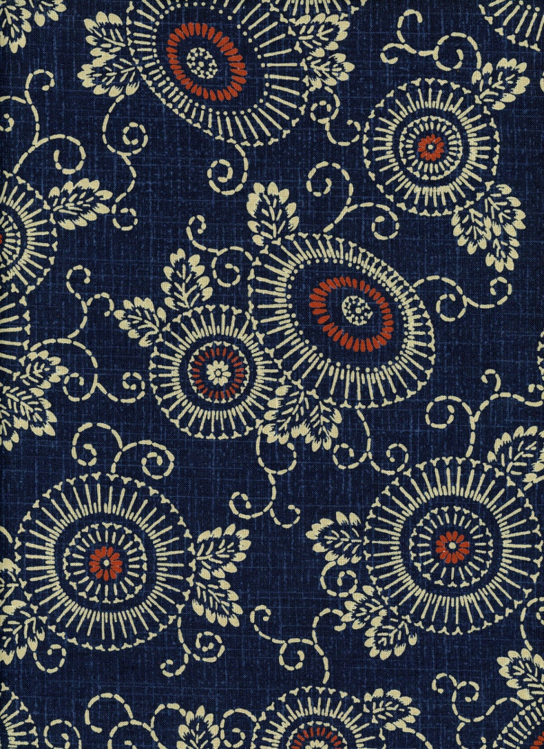 Indigo Fabric Floral Parasol 100% Cotton Japanese Quilting