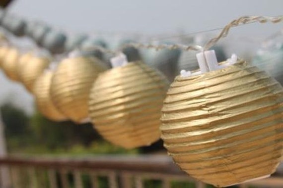 Gold Mini Round Paper Lantern Battery by FairyLightsThailand