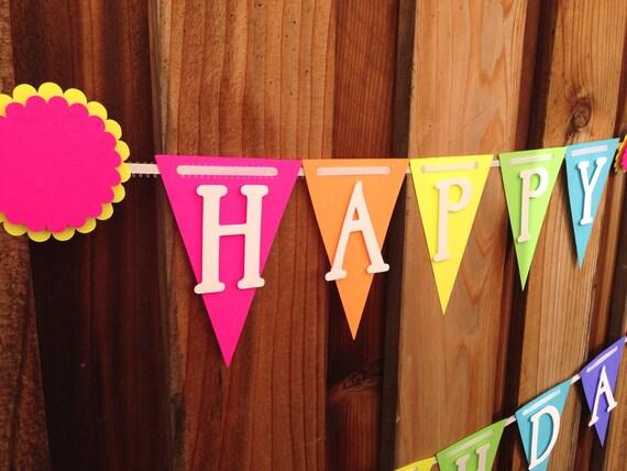 Neon Rainbow colored Birthday Banner, Happy1st Birthday,