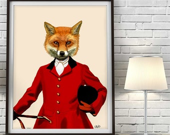 Fox Hunter 2 Portrait  Art Print Acrylic Painting Giclee Mixed Media, Animal Painting, Wall Art, Wall Decor, Wall Hanging