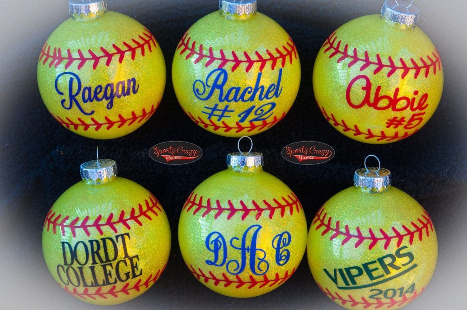 Image Gallery Softball Ornaments