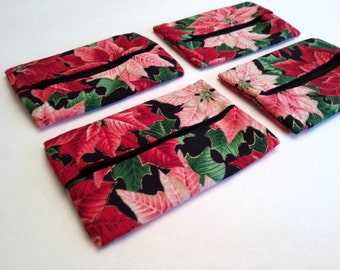 Set of 4 Poinsettia Fabric Tissue Covers / Inexpensive Gifts for Friends, Teachers, and Coworkers