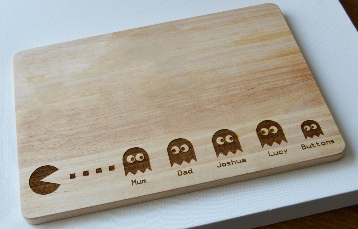 Personalised Pac Man Engraved Wooden Chopping Board Light