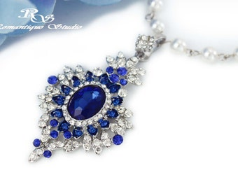 Sapphire blue Bridal necklace Bridesmaid necklace Wedding necklace Bridal Jewelry Wedding jewelry Something blue Wedding accessories 2162