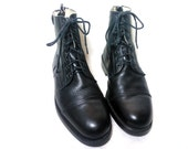 vintage black leather lace up zip up paddock riding ankle boots, size : EU 37 /  US Women's 6 1/2 / UK Women's 4