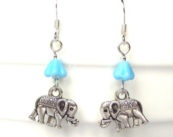 Little elephant earrings with Forget me Nots - An Elephant never forgets - Cute earrings - Novelty earrings - Stocking stuff - UK seller