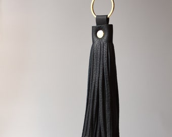 Black & Gold Leather Tassel Keychain