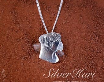 Boxer, necklace with a pendant in sterling silver