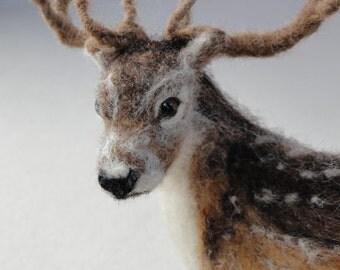 NOW SOLD.Needle felted reindeer