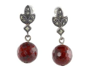 Sterling Silver Marcasite Red Pierced Earrings