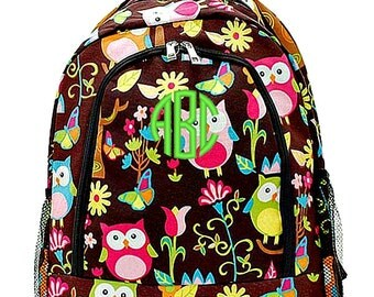 Personalized Backpack Monogrammed Bookbag Owl Brown Large Canvas Kids Tote School Bag Embroidered Monogram Name