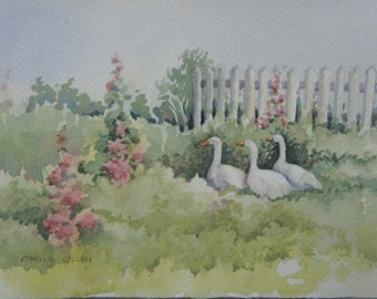 Watercolor Painting - ORIGINAL - A Walk in the Garden