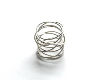 modern sterling silver wire wrap ring size 6/7 or 7/8 argentium