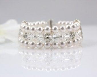 TAYLOR - Bridal Cuff Bracelet, Wedding Swarovski Pearl Bracelet, Crystal Wedding Bracelet, Rhinestone Wedding Cuff