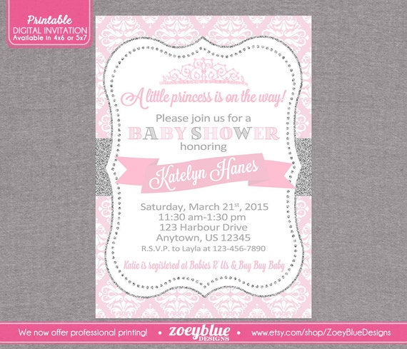 princess baby shower invitation pink damask silver glitter little