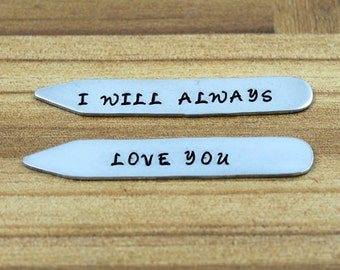Anniversary Gifts for Men / Personalized Collar Stays / Custom Collar Stays / Wedding Collar Stays / Men's Wedding Gift