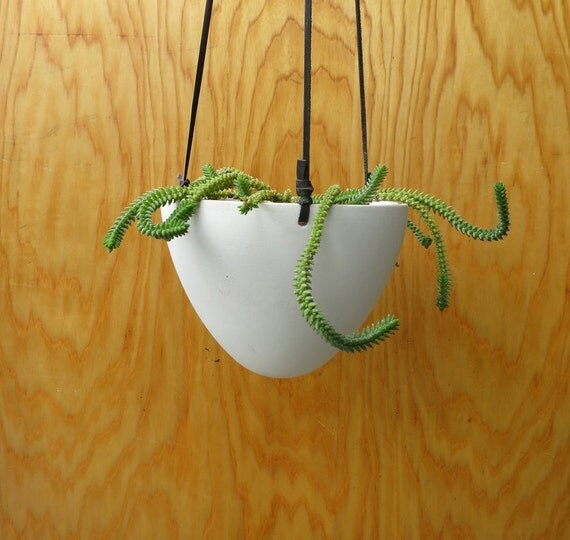 Hanging Ceramic Pot Planter modern cone shaped by BanditCeramics