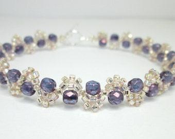 Violet lustre and peach bracelet, purple bracelet, seed bead bracelet, elegant bracelet, firepolish bracelet, wave bracelet BR002