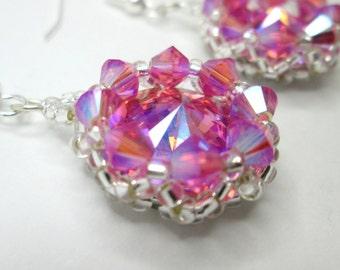 Rose glacier blue foil and rose AB2X swarovski rivoli earrings, rivoli earrings, pink earrings, crystal earrings, statement earrings