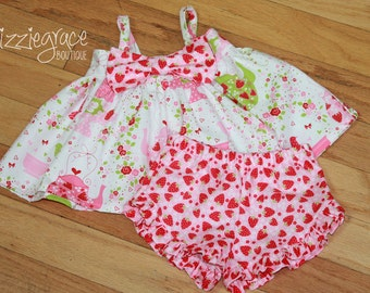 Pink Strawberries, Tea Party, Big Bow Set