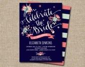 Printable Bridal Shower Invitation, Summer Flowers.