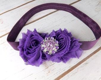Girls purple headband, plum headband, shabby chic hair accessories, newborn headband, photo prop, UK seller