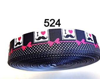 "2/3/5 yard - 7/8"" I Love Mustache Polka dot and Red Bow on Black Grosgrain Ribbon Hair bow"