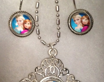 Inspired Frozen Elsa and Anna Earrings and Matching Necklace