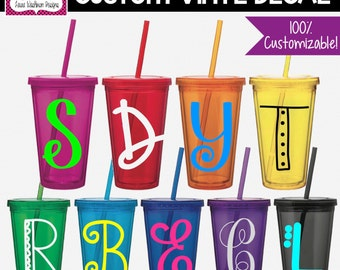 VINYL DECAL: DIY Single Letter Monogram for Tumblers