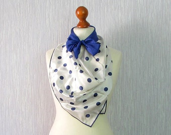 Set of 2 vintage scarves, Vintage polka dot Silk scarf in navy blue and white Gift for her