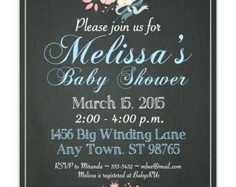 Baby Shower Invitation, Chalkboard Invitation, Floral and Chalk DIY Invitations - 4x6 or 5x7 size - YOU print, customized chalk board invite