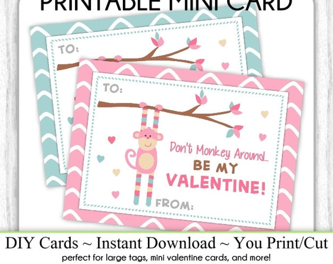 Monkey Valentine's Day Printable Cards, Valentine Mini Cards, DIY, You Print, Monkey Valentine Printable Cards, Instant Download,
