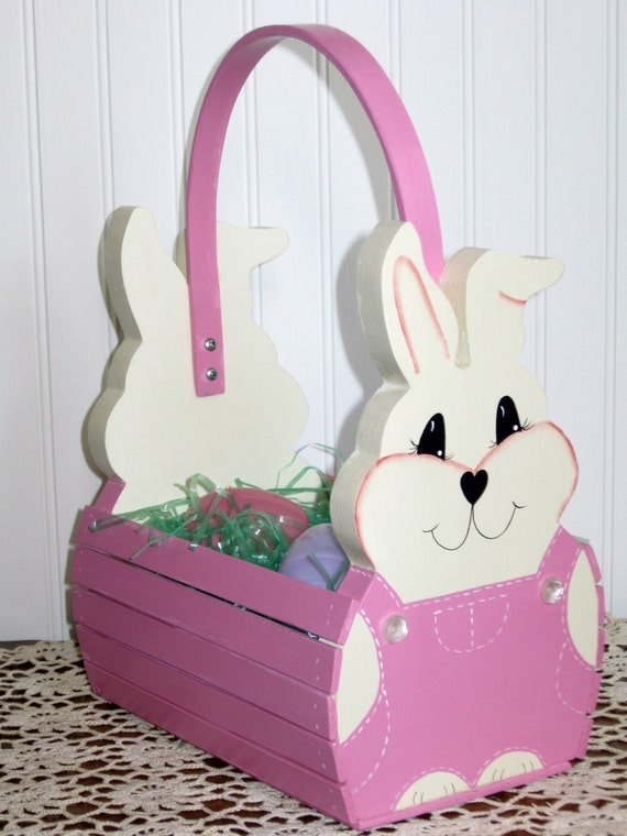 Handmade Wooden Easter Baskets : Personalized handmade wooden children s easter bunny