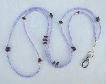 Light Purple, Amethyst and Silver Lanyard. Handmade Beaded ID Badge Holder. Necklace ID Holder. Glass beads Amethyst Gemstone, Silver beads.