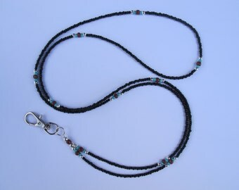 Black Lanyard. Handmade. Turquoise, Brown Silver beads. Beaded ID Badge Holder. Glass beads. Necklace ID Holder. Black ID holder.