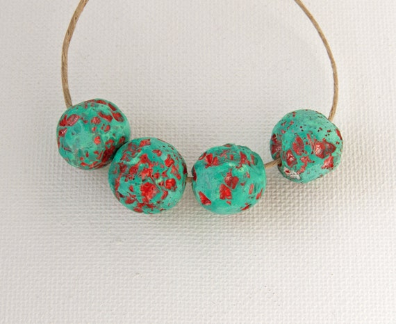 Primitive pitted polymer clay beads