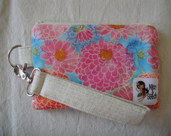 Wristlet Wallet Pink And Red Zinnias