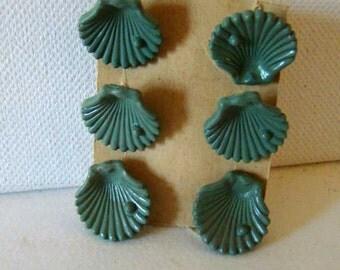 Seashell buttons, vintage seashells, green seashell buttons, vintage green seashell buttons