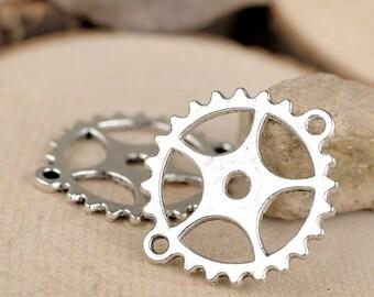 25 pcs of antique silver double holes gear  Charm Pendants 28x24mm  wheel gear