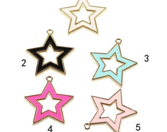 10 pcs of antique gold hollow five-pointed star drop oil charm pendants 30x25mm