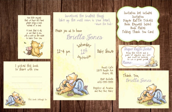 winnie the pooh baby shower story book baby shower invitation classic