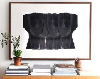 Abstract Art Print, Minimalist Extra Large Giclee Poster, Multiple Black Heads, 50x70/70x100/106x152