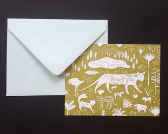 Letterpress Printed Flat Thank You Card with Envelope