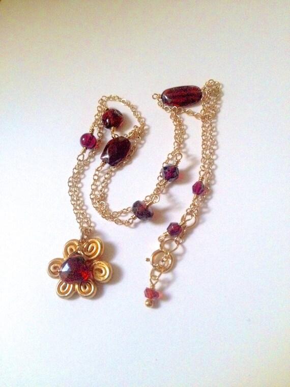 Muladhara Chakra Necklace Gold Lotus Charm Aura Cleaning Root Chakra Grounding Garnet Gemstones January Birthstone