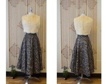 1950s Vintage Metalic Sheer Polkadot Circle Skirt