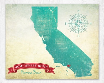 Customized State or Country Map, State Map, Country Map, California style, sizes 5x7, 8x10 or 11x14