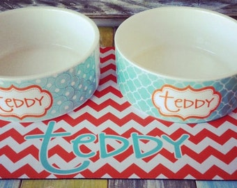 Personalized Pet Food and Water Bowls - Dog Bowl/Cat Bowl - Monogram Your Pet - Design Your Own - Custom Made